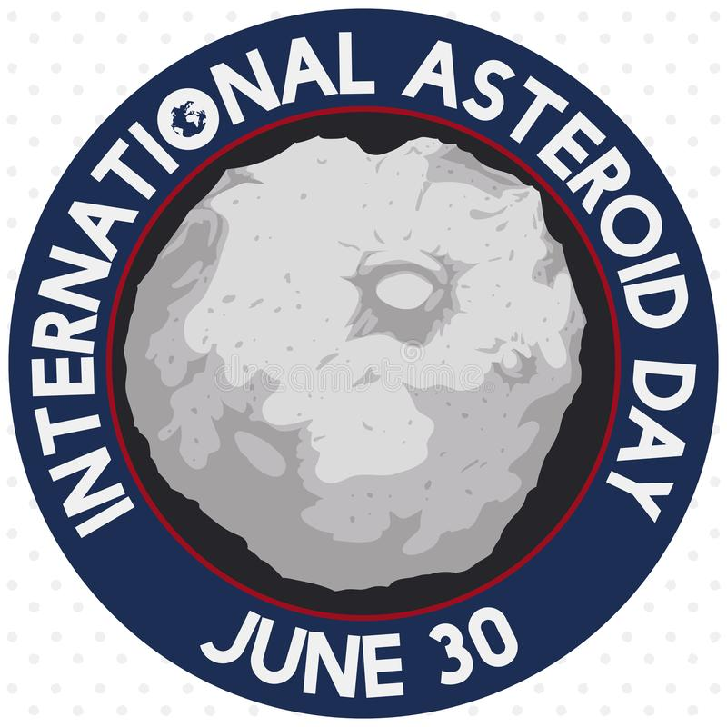 Asteroid inside Round Button for International Asteroid Day Celebration, Vector Illustration royalty free illustration