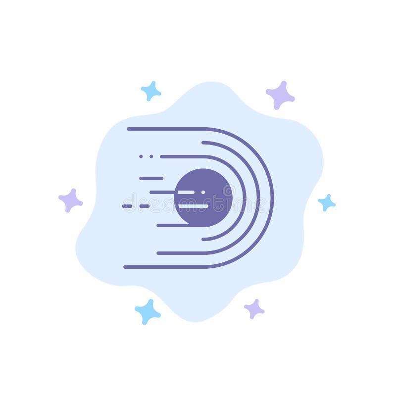 Asteroid, Komet, Flug, Licht, Raum-blaue Ikone auf abstraktem Wolken-Hintergrund stock abbildung