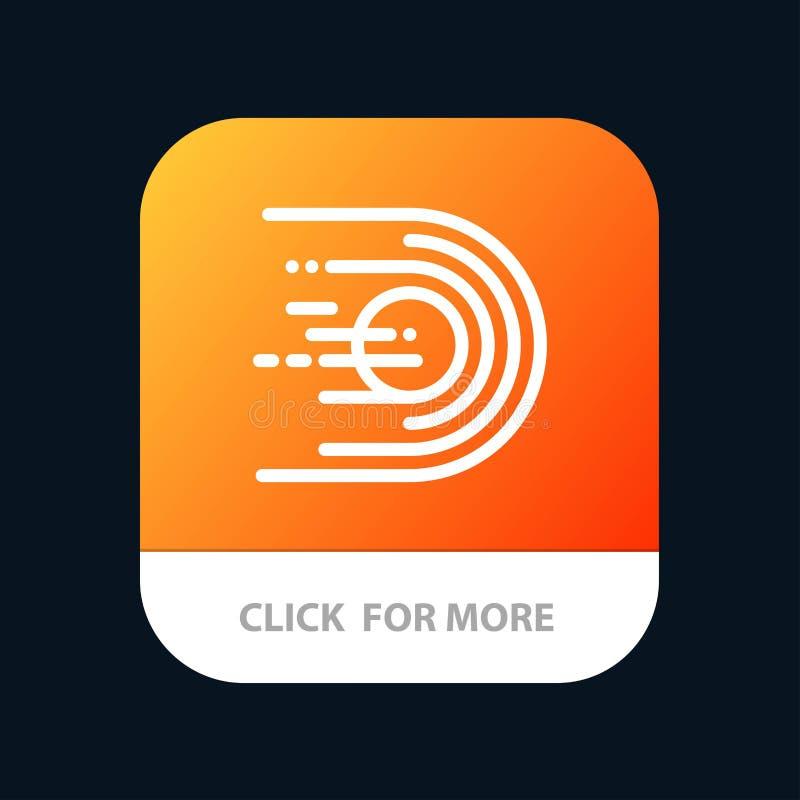 Asteroid, Komet, Flug, Licht, Raum mobiler App-Knopf Android und IOS-Linie Version stock abbildung