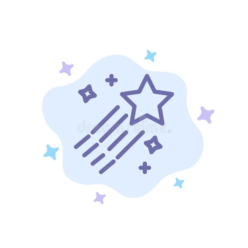 Asteroid, Komet, Raum, Stern-blaue Ikone auf abstraktem Wolken-Hintergrund lizenzfreie abbildung