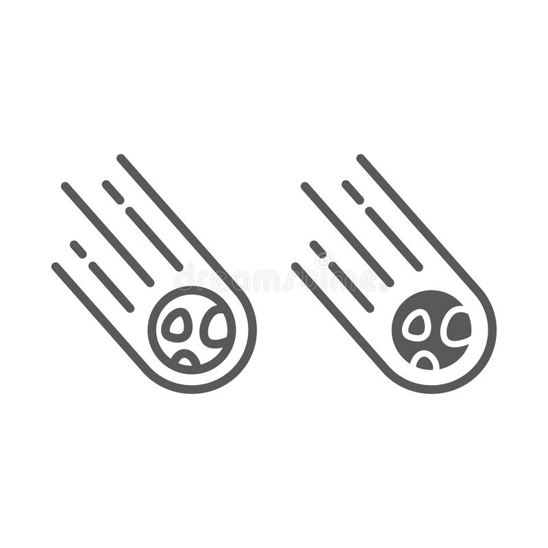 Asteroid line and glyph icon, space and meteor, meteorite sign, vector graphics, a linear pattern on a white background. stock illustration