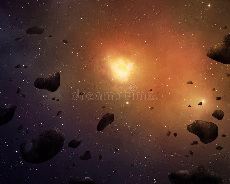 Asteroidbakgrund royaltyfri illustrationer