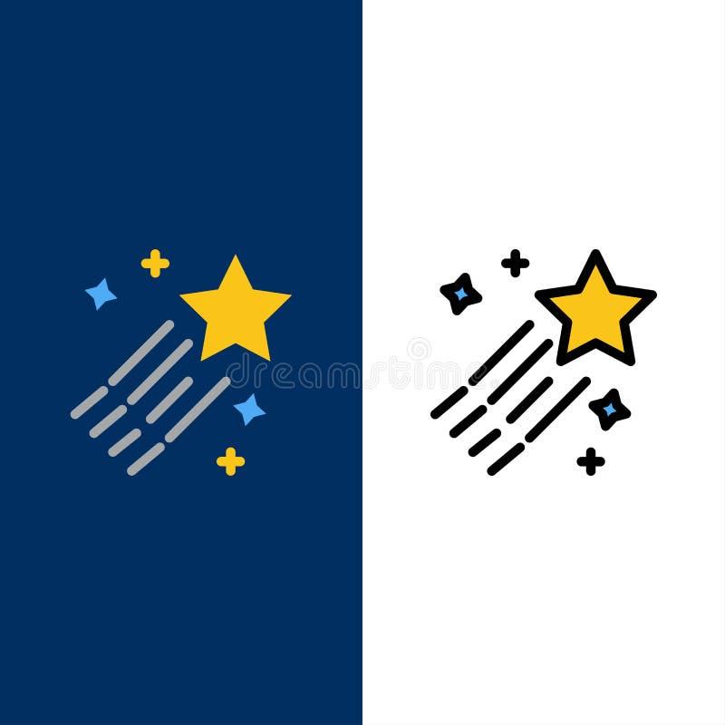 Asteroide, cometa, espacio, iconos de la estrella El plano y la línea icono llenado fijaron el fondo azul del vector libre illustration