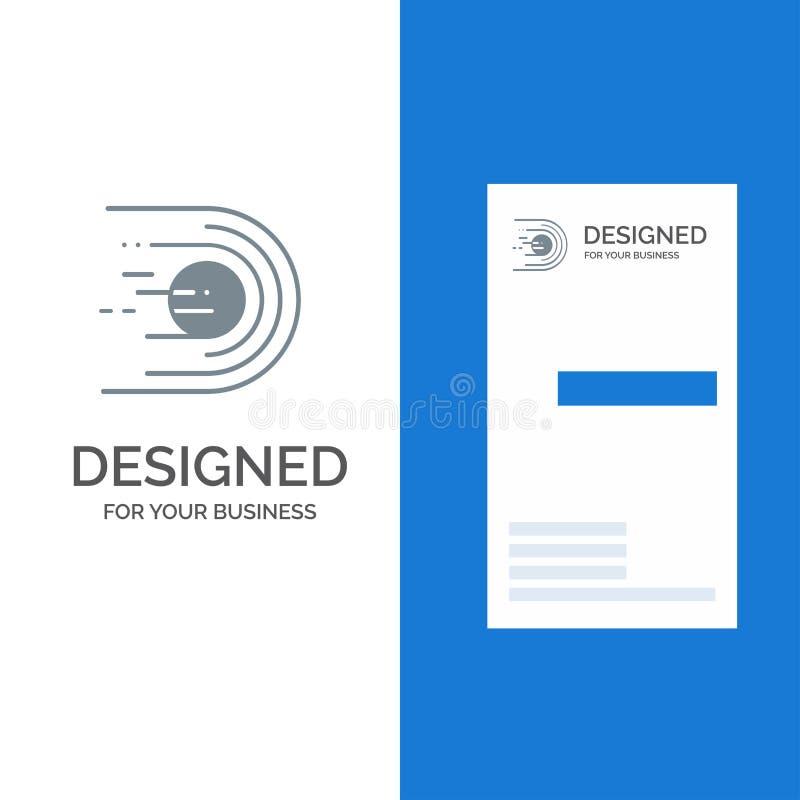 Asteroide, cometa, voo, luz, espaço Grey Logo Design e molde do cartão ilustração royalty free