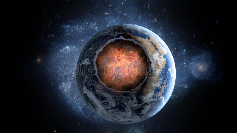 Asteroide de voo, meteorito à terra O espaço armageddon imagem de stock