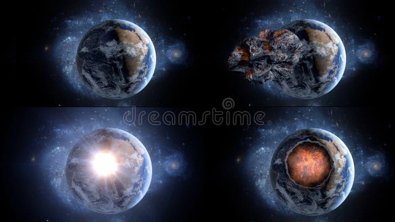 Asteroide de voo, meteorito à terra O espaço armageddon fotografia de stock royalty free
