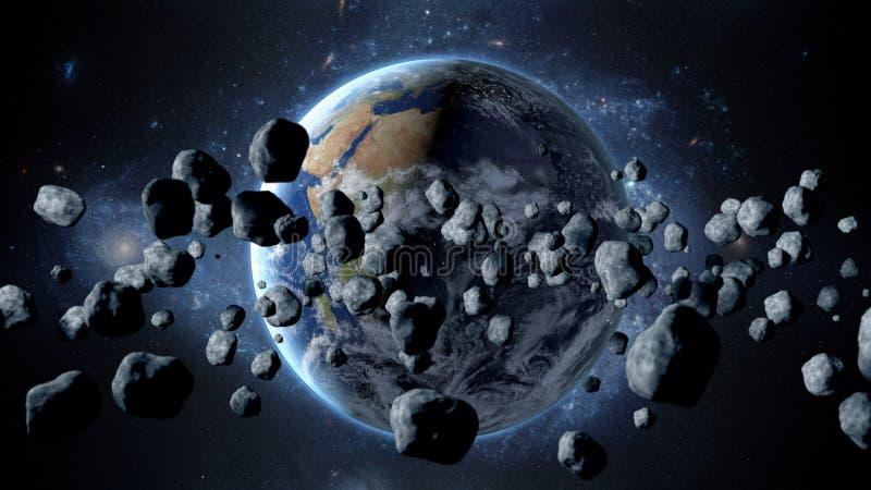 Asteroide de voo, meteorito à terra O espaço armageddon rendição 3d ilustração royalty free