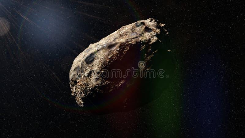 Asteroide en el espacio profundo, representación del objeto 3d de la Sistema Solar stock de ilustración