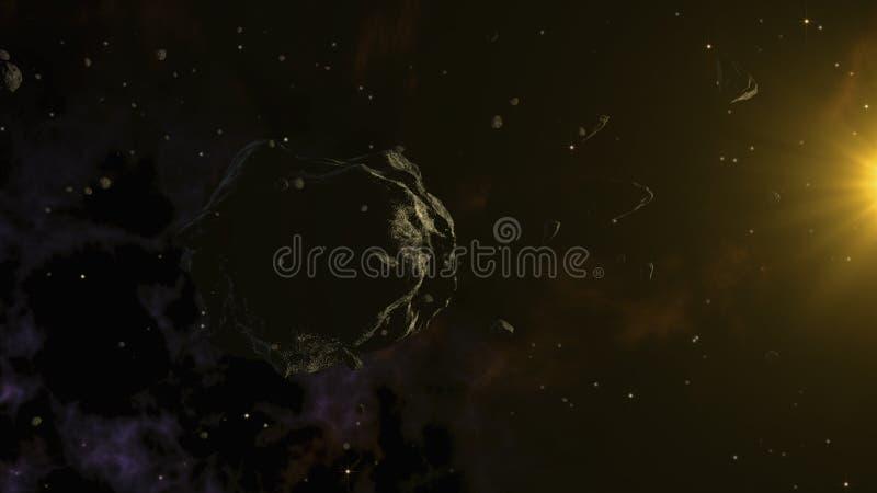 Asteroide grande rodeado por los más pequeños Espacio profundo, arte cósmico y concepto de la ciencia ficción ilustración del vector