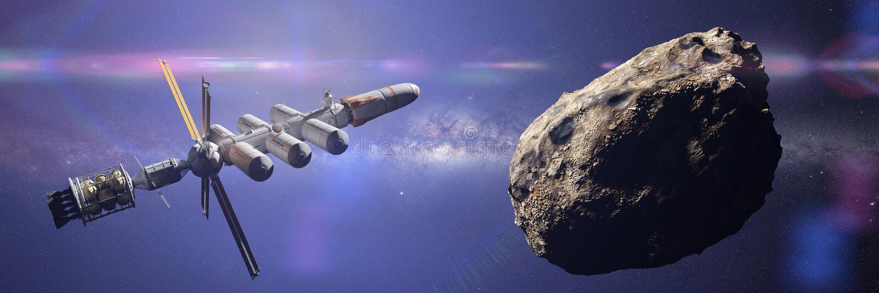 Asteroide inminente de la nave espacial, misión enana del planeta, bandera profunda del ejemplo de la ciencia ficción de la explo ilustración del vector