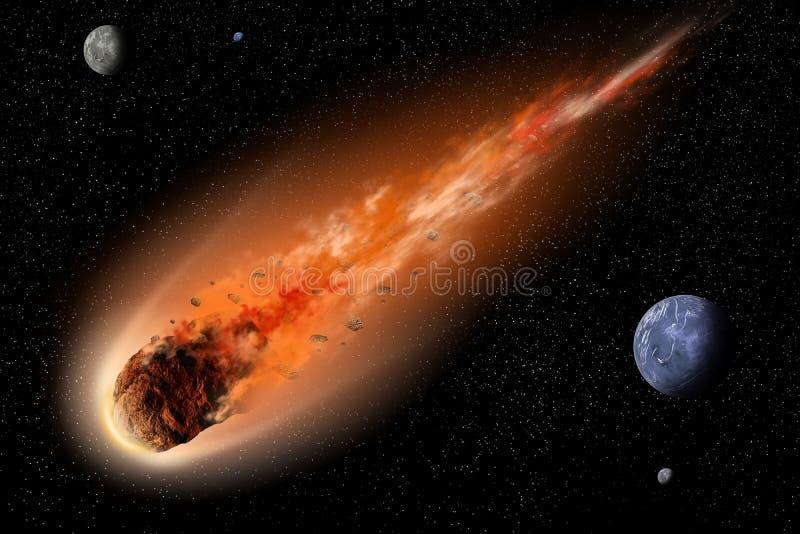 Asteroide nello spazio illustrazione vettoriale