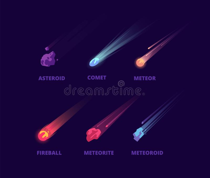 Asteroide y meteorito del cometa Objetos del espacio de la historieta Sistema atmosférico del vector de las bolas de fuego libre illustration