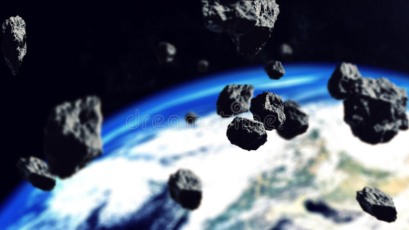 Asteroiden, die zum Erdplaneten schließen vektor abbildung