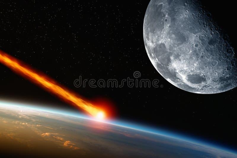 Asteroiden får effekt royaltyfri illustrationer