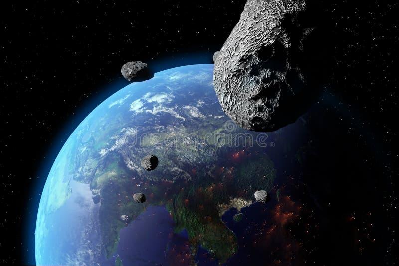Asteroiden Nears jord royaltyfri illustrationer