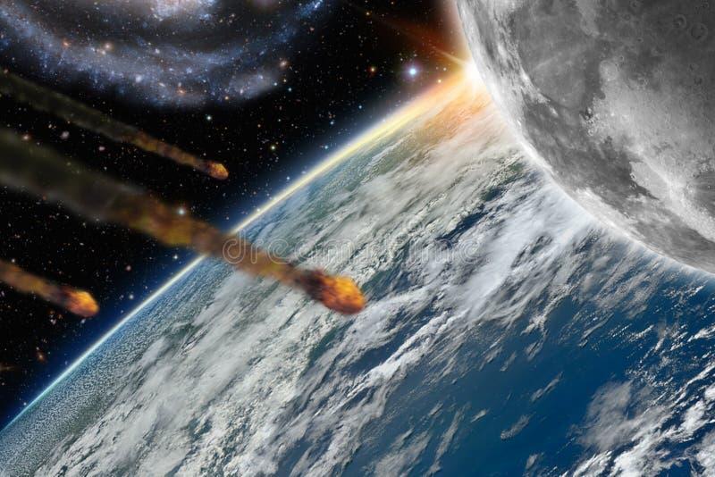 Asteroider som flyger över planetjord royaltyfri illustrationer