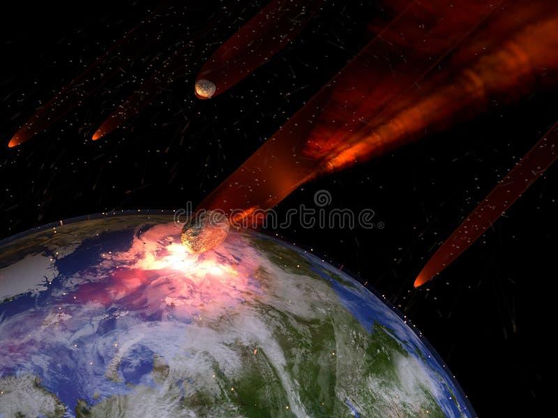 Asteroider som slår jord royaltyfri illustrationer