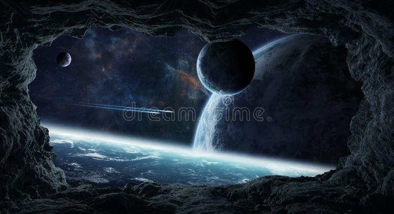 Asteroides que voam perto dos elementos da rendição dos planetas 3D desta ilustração stock