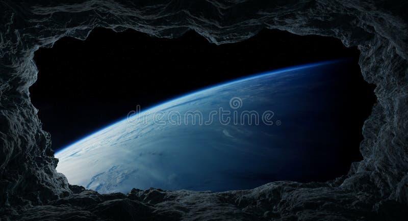 Asteroides que vuelan cerca de elementos de la representación de la tierra 3D del planeta de libre illustration