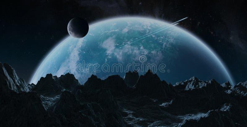 Asteroides que vuelan cerca de elementos de la representación de la tierra 3D del planeta de stock de ilustración