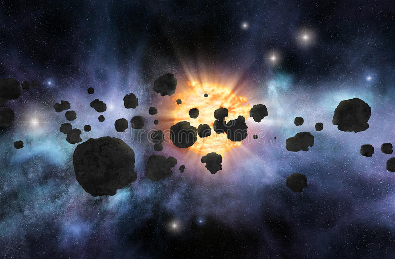 Asteroidfält royaltyfria bilder