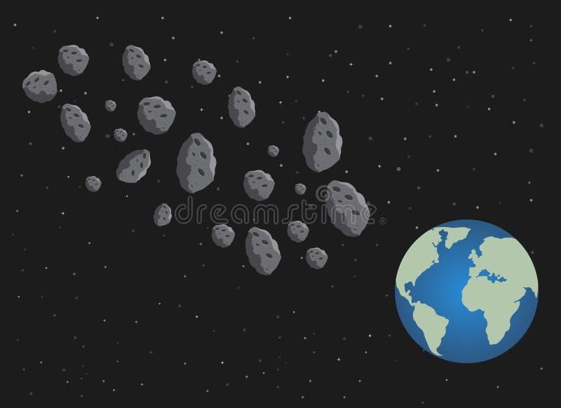 Asteroidi e pianeta Terra piani Il pericolo dello spazio spazio illustrazione di stock