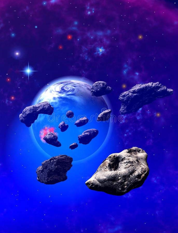 Asteroids around an alien blue planet stock illustration