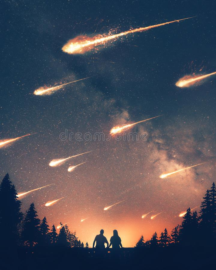 Asteroids falling to the earth stock illustration