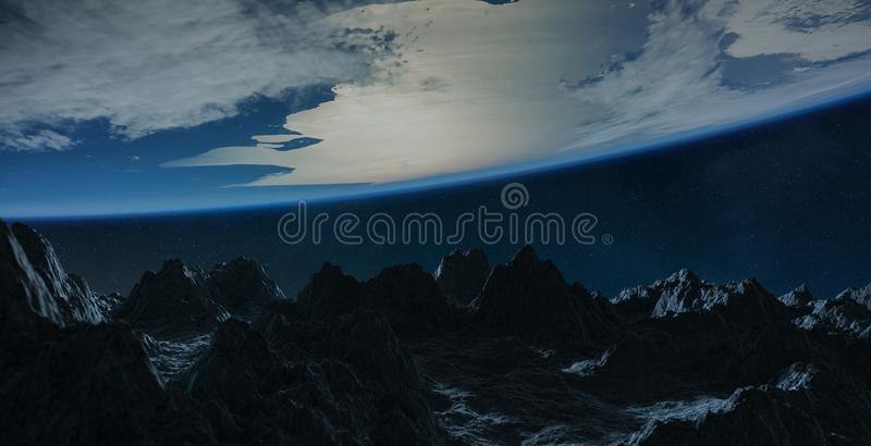 Asteroids flying close to planet Earth 3D rendering elements of stock illustration