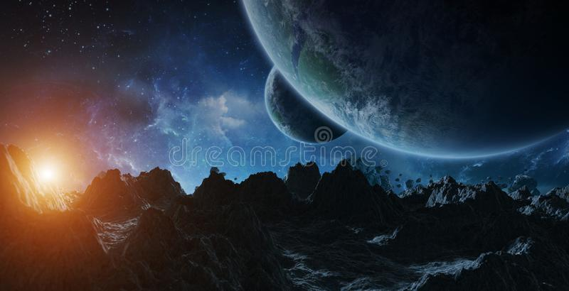 Asteroids flying close to planets 3D rendering elements of this vector illustration