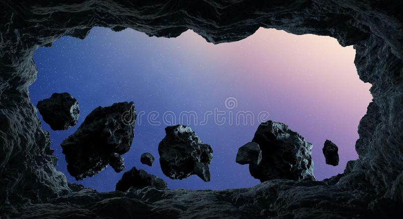 Asteroids flying close to planets 3D rendering elements of this stock illustration