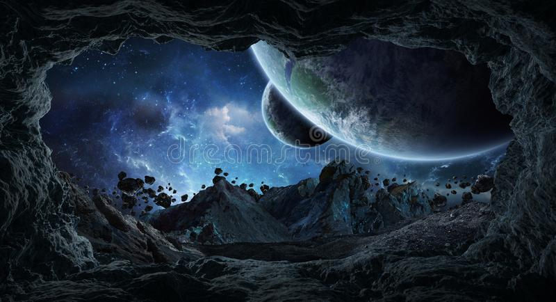 Asteroids flying close to planets 3D rendering elements of this royalty free illustration
