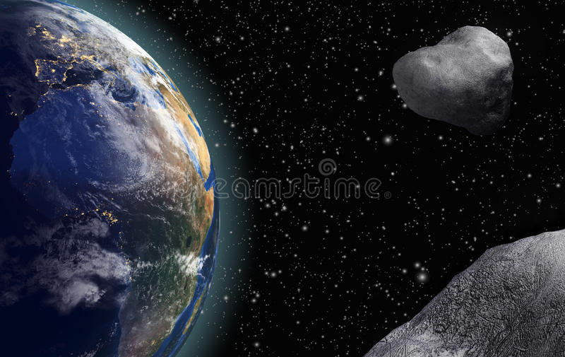 Asteroids are Flying to the Earth stock illustration