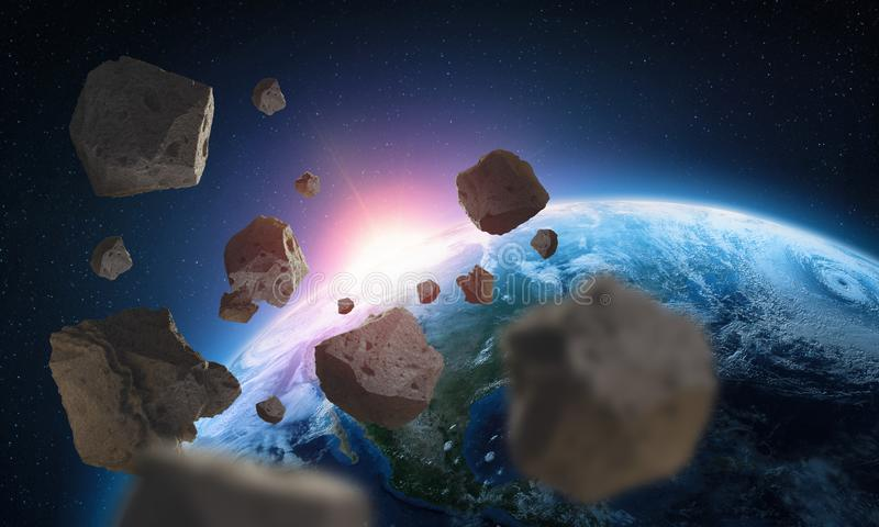 Asteroids near the planet Earth. Elements of this image are furnished by NASA. Asteroids near the planet Earth. A view of the globe from space. Elements of this vector illustration