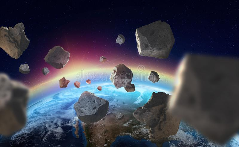 Asteroids near the planet Earth. Ozone layer. A view of the globe from space stock illustration