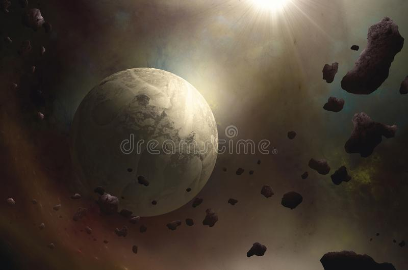 Asteroids near planet in space stock illustration