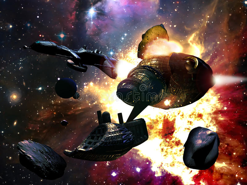 asteroids som kolliderar royaltyfri illustrationer