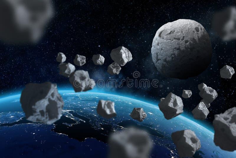 Asteroidy lata blisko do planety ziemi Elementy ten wizerunek meblujący NASA ilustracja wektor