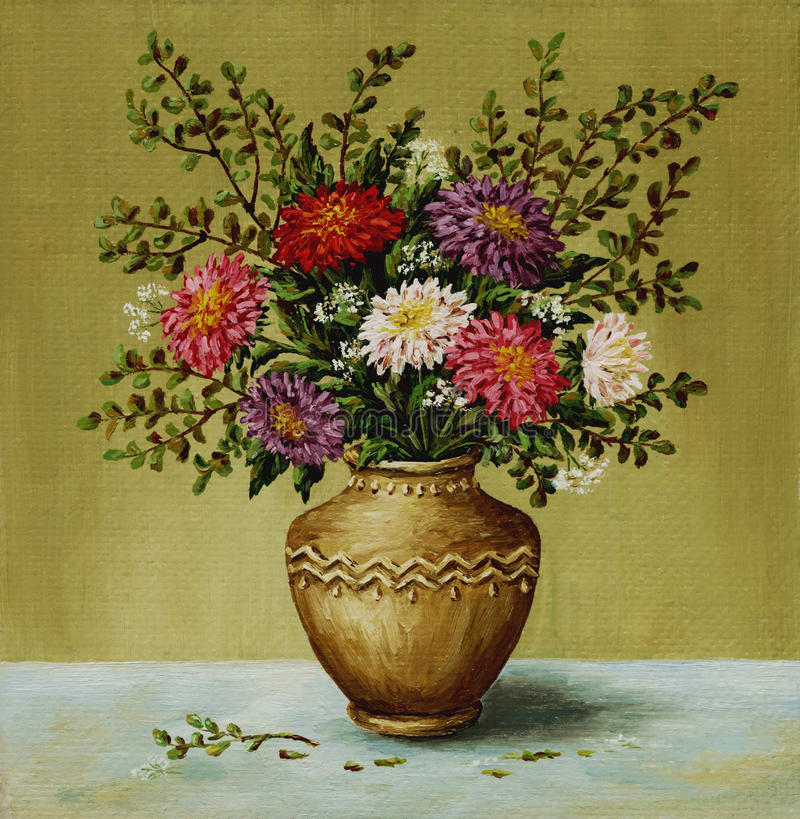 Asters in a clay amphora stock photos