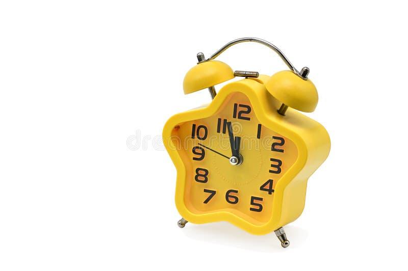 Asterysków bożych narodzeń zegarowego seansu pozostałościowy czas do północ na białym tle yellow Dwanaście o `zegar zdjęcie royalty free
