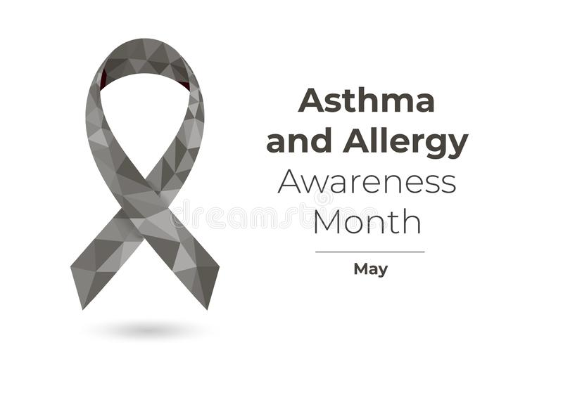 Asthma and Allergy Awareness Month ribbon concept royalty free illustration