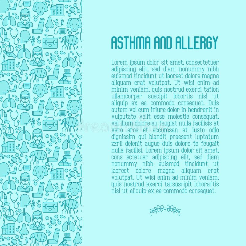 Asthma and allergy concept. Contains seamless pattern for web page, banner of clinic, thin line icons with allergy symptoms and the most common allergens royalty free illustration