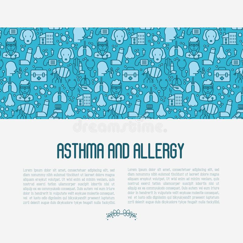 Asthma and allergy concept. For web page, banner of clinic, thin line icons with allergy symptoms and the most common allergens. Asthma inhaler. Vector vector illustration
