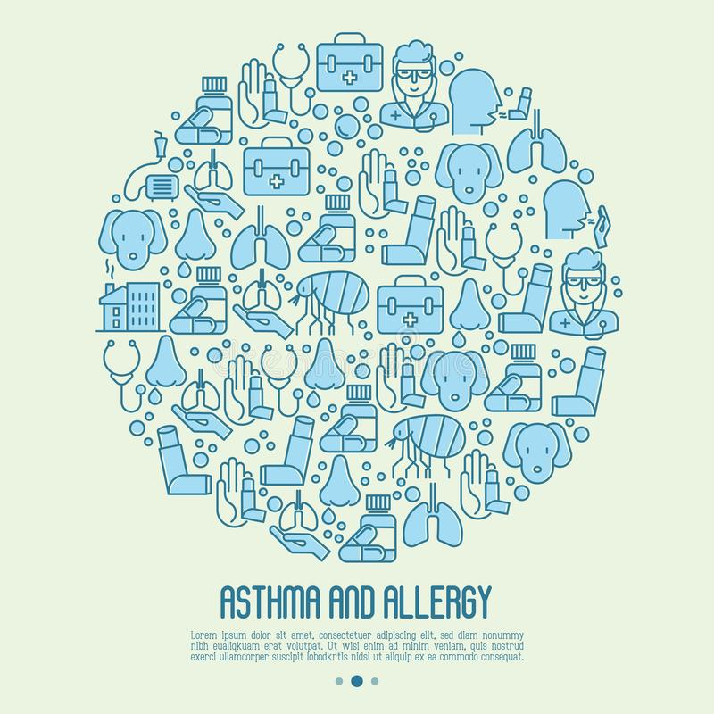 Asthma and allergy concept in circle. For web page, banner of clinic, thin line icons with allergy symptoms and the most common allergens. Asthma inhaler vector illustration