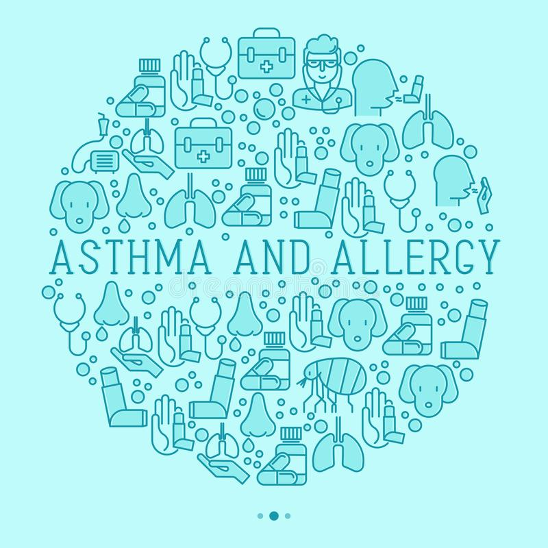 Asthma and allergy concept in circle. For web page, banner of clinic, thin line icons with allergy symptoms and the most common allergens. Asthma inhaler royalty free illustration