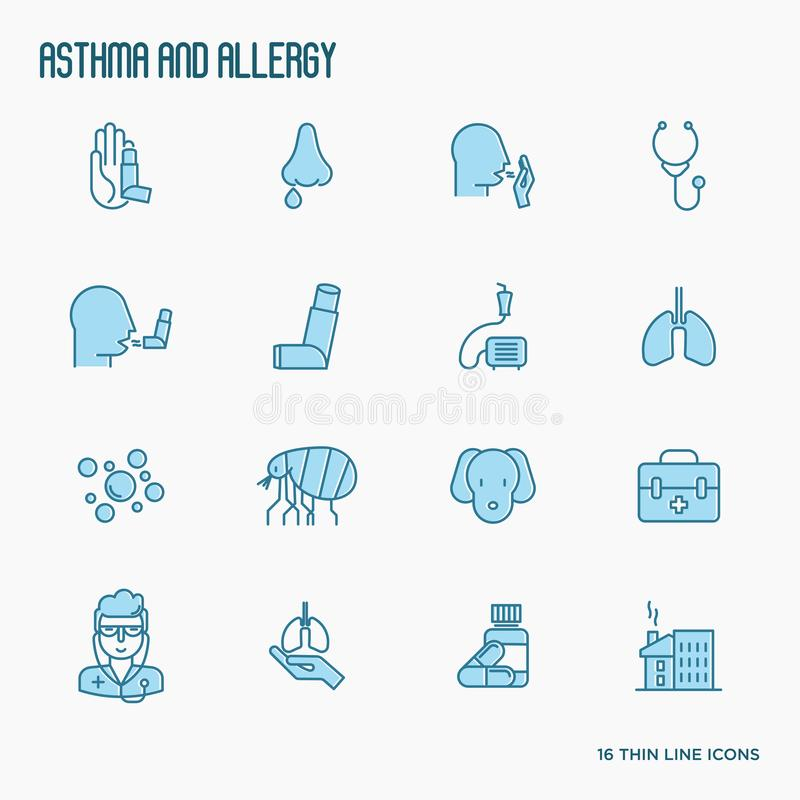 Asthma and allergy thin line icons set. With allergy symptoms and the most common allergens. Asthma inhaler. Vector illustration vector illustration