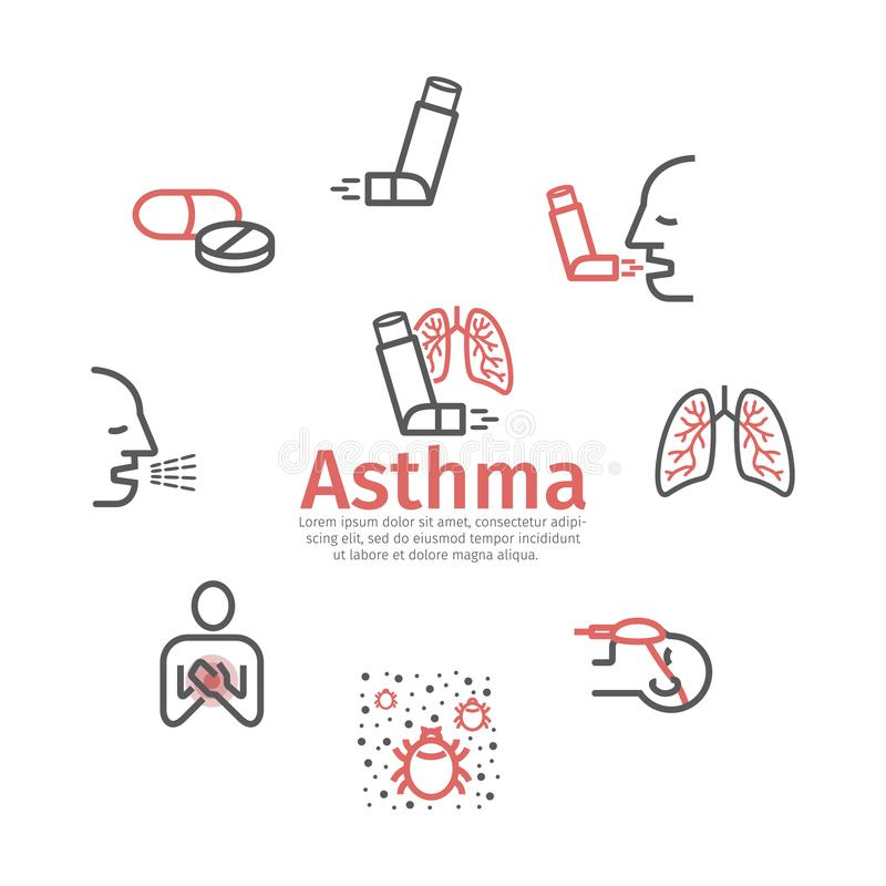 Asthma banner. Symptoms. Asthma line icons. Vector signs for web graphics. vector illustration