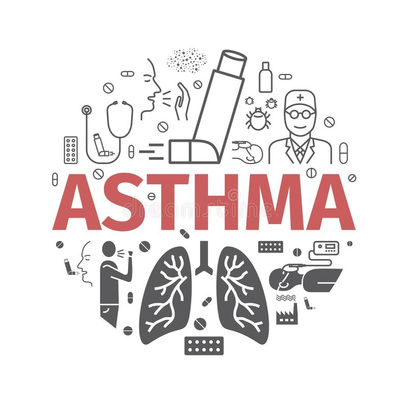 Asthma banner. Symptoms. Asthma icons. Vector set. royalty free stock photography