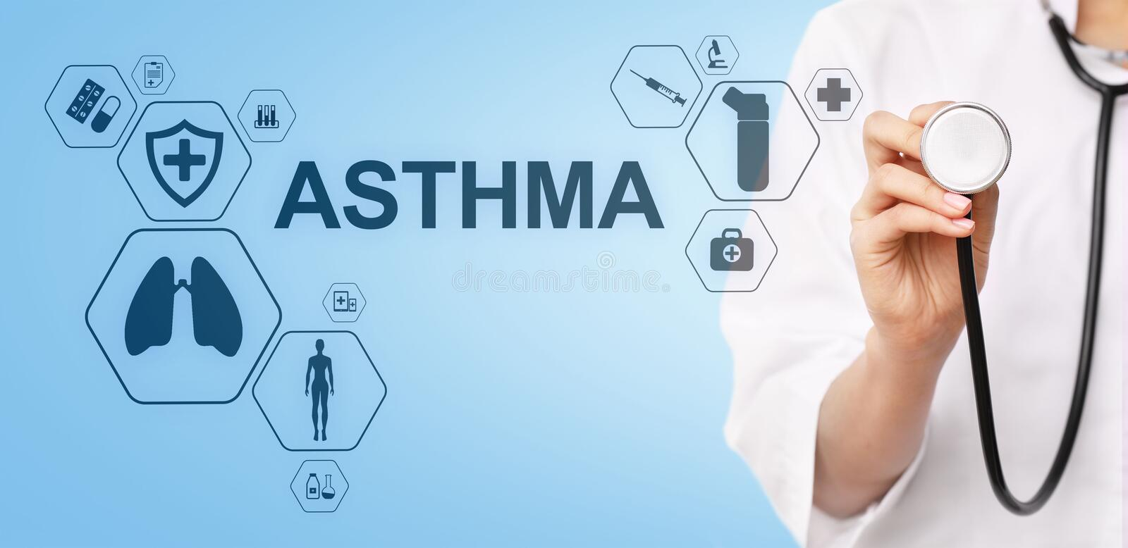 Asthma diagnosis, medical doctor with stethoscope and virtual screen. Modern medical concept. vector illustration