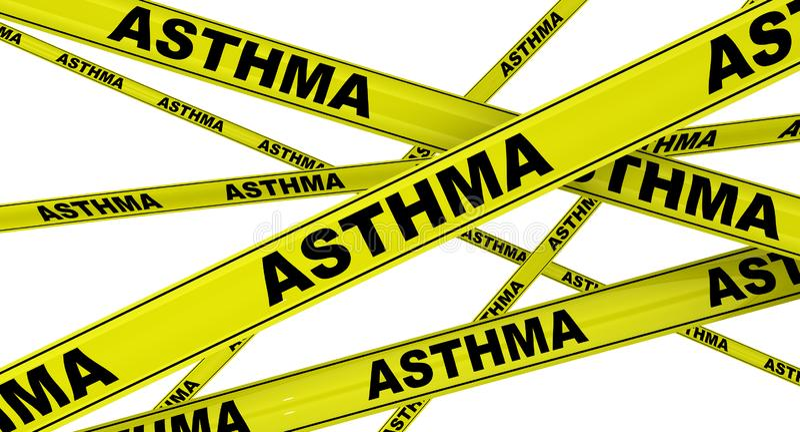 asthma Gelbe warnende B?nder stock abbildung